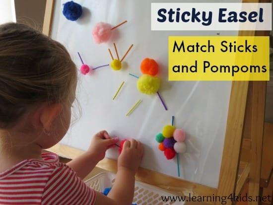 Play opportunity using a sticky easel, match stick and pompoms. Lots of great ideas!
