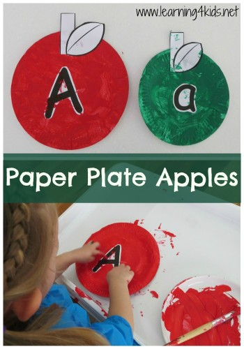 Apple Activities Paper Plate Apples - Letter A crafts