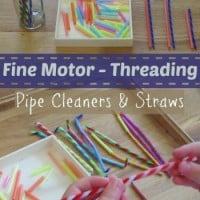 Fine Motor Threading with Pipe Cleaners and Straws