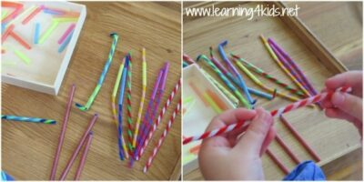 Fun Fine Motor Activity Threading Pipe Cleaners with Straws