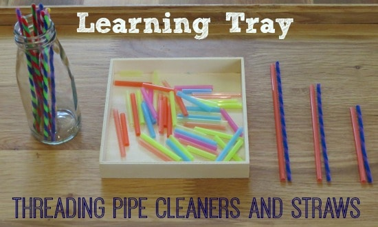 Learning Tray threading pipe cleaners and straw for fine motor