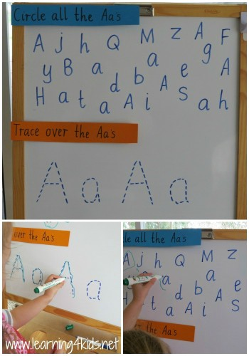Letter A Activities for Preschoolers and Kindergarten using the whiteboard