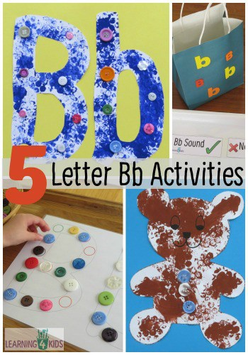 5 Letter Bb Activities - B is for Bear, blue, buttons, bubble wrap - so many letter B activtities