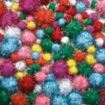 Glitter Pom Poms Pack of 200