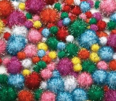 Glitter Pom Poms Pack of 200