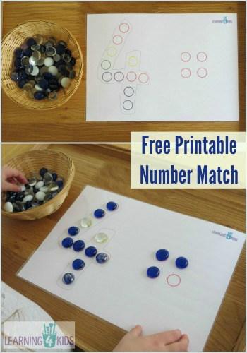 Free Printable Dot Number Match