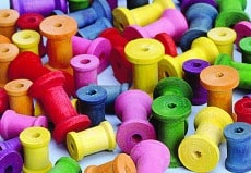 Coloured Wood Spools Pack of 50