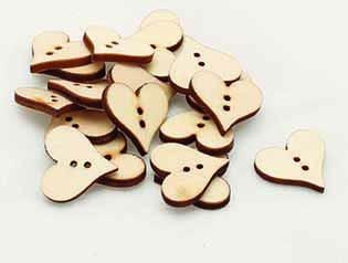 Wooden Heart Buttons