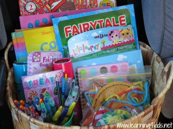 Busy Basket of Activities for Kids on a Road Trip