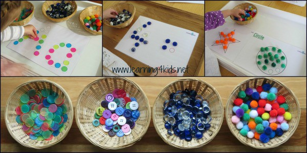 Buttons, token, pompoms and gem stones match the dot printables
