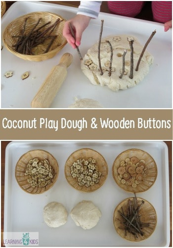 Coconut Play Dough And Wooden Buttons