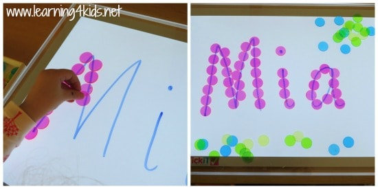 Light Table Name Activity and Fine Motor