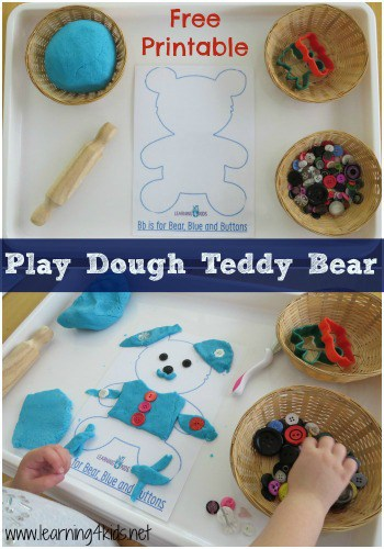Play Dough Teddy Bear with Free Printable