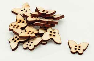 Wooden Butterfly Buttons