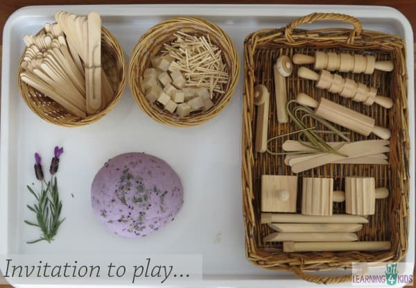 Invitation to play lavender play dough