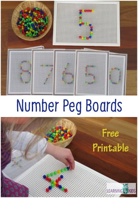 Number Peg Boards Free Printable