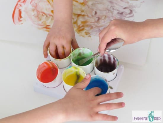 Easy to make homemade finger paint for babies