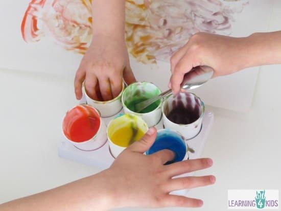 Easy to make homemade finger paint for babies