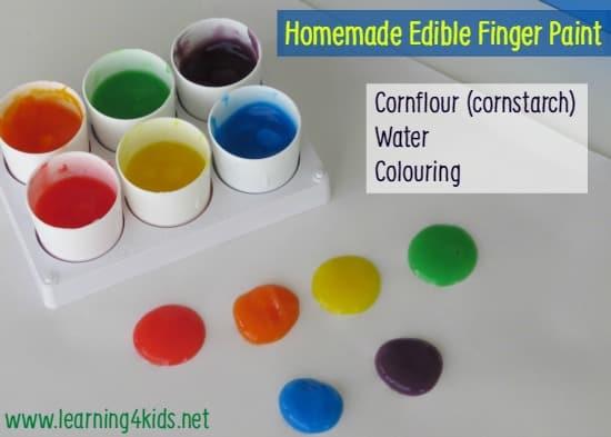 Homemade Edible Finger Paint Learning 4 Kids