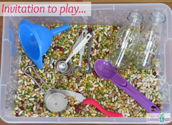 Invitation to play with sensory tub