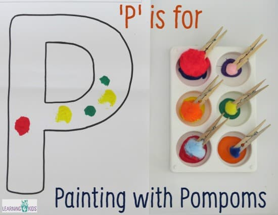 Letter p activity painting with pompoms learning 4 kids for Letter p preschool crafts