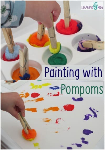 Letter p activity painting with pompoms learning 4 kids for Painting ideas for 4 year olds