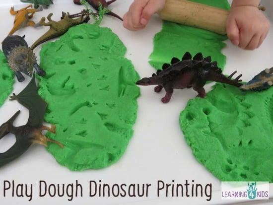 Play Dough Dinosaur Printing