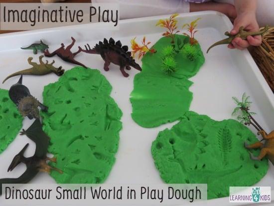 Pretend Play Dinosaur small world in play dough