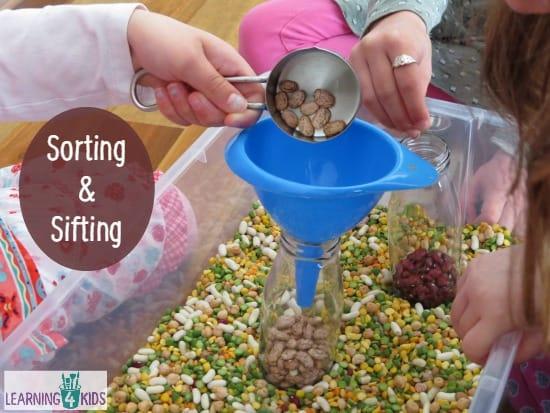 Sorting and Sifting Sensory Tub