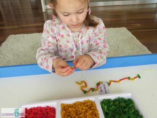 making noodle necklaces