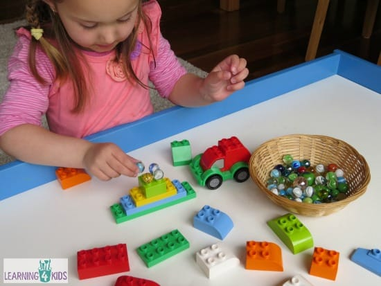 Invitation to play with Lego Duplo and Marbles