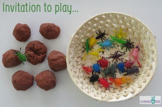 Invitation to play with play dough and insects