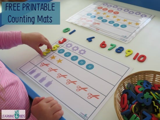 Printable counting mats learning 4 kids for Educational crafts for toddlers
