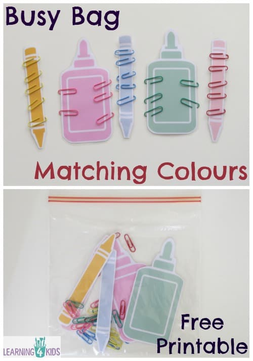 Busy Bag Matching Colours with Free Printable