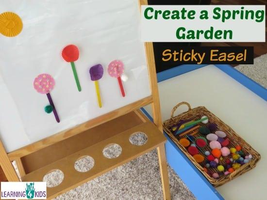 Create a Spring Garden Sticky Easel - Spring Activities