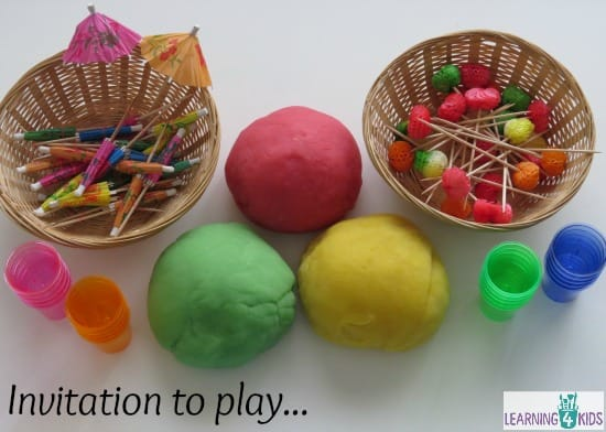 Invitation to play with summer scented play dough and props