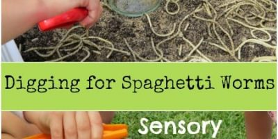Digging for Spaghetti Worms Sensory Play
