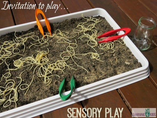 Invitation to play spaghetti worms in dirt