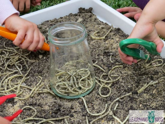 sensory play ideas for kids and toddlers digging for spaghetti worms
