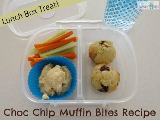 Choc Chip Muffin Bites Recipe - simple snack idea of lunch box treat