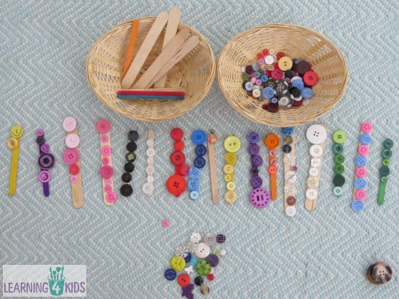 Activities using buttons and pop sticks