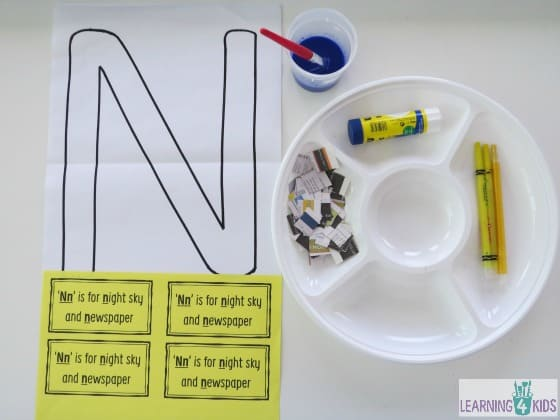 Letter n activity newspaper collage learning 4 kids for Letter n decorations