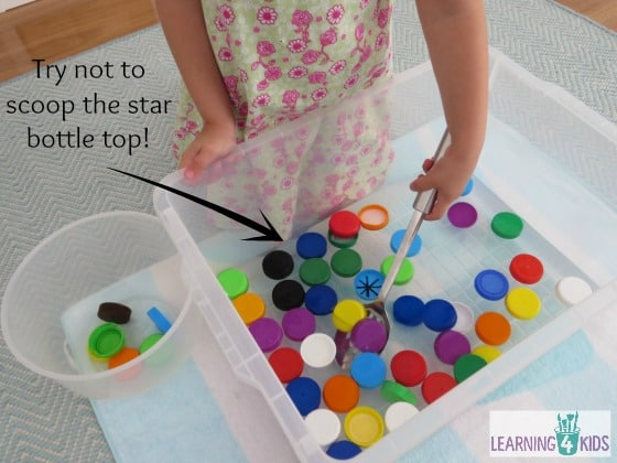 Bottle Top Soup Game - Sensory Play with water and bottle tops