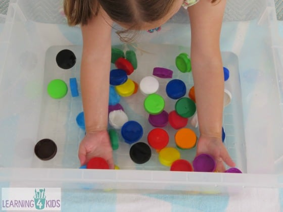 Bottle Top Soup - Sensory Play with Water and Bottle Tops