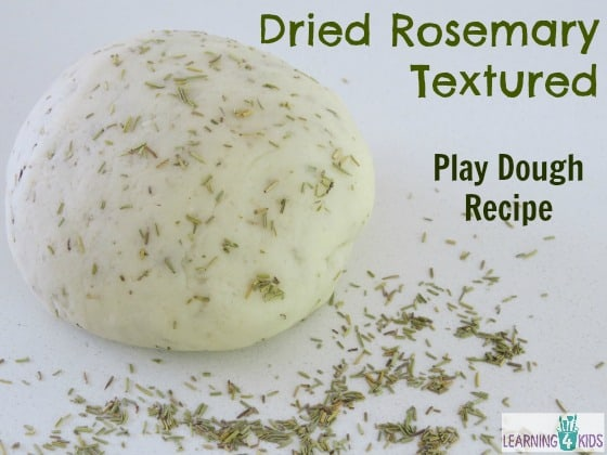 Dried Rosemary Textured Play Dough Recipe by Learning 4 Kids