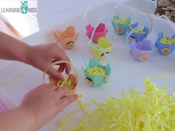 Egg carton easter basket craft learning kids