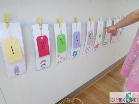 Hanging numbers 1 - 10 along a line