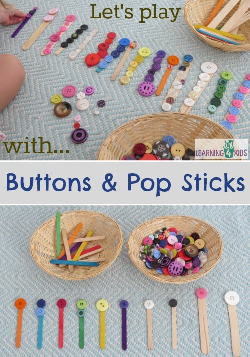 Let's play with Buttons and Pop Sticks - lots of fun ideas