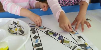 Making a letter n collage with newspaper - learning the letter n