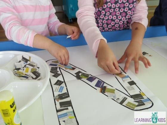 making a letter n collage with newspaper learning the letter n